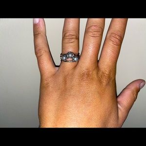 RETIRED Pandora Triple Bloom freshwater pearl ring